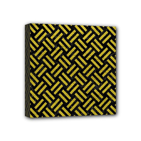 Woven2 Black Marble & Yellow Leather (r) Mini Canvas 4  X 4