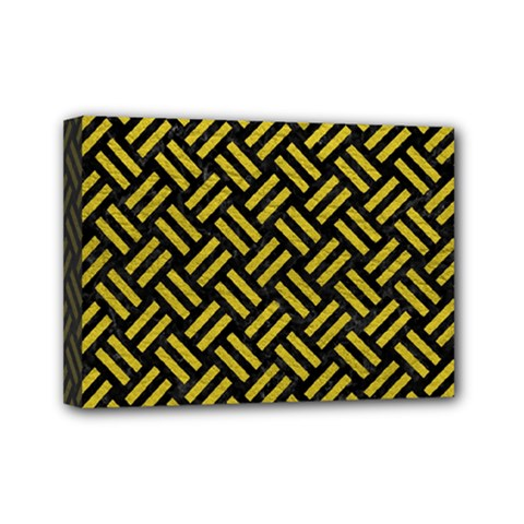 Woven2 Black Marble & Yellow Leather (r) Mini Canvas 7  X 5