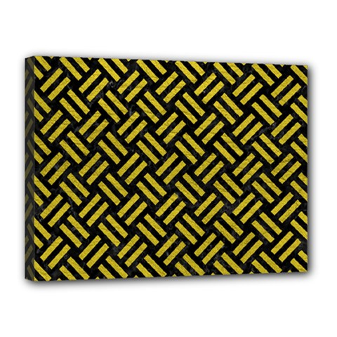Woven2 Black Marble & Yellow Leather (r) Canvas 16  X 12