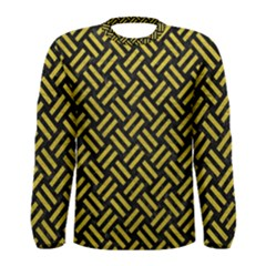 Woven2 Black Marble & Yellow Leather (r) Men s Long Sleeve Tee