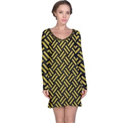 Woven2 Black Marble & Yellow Leather (r) Long Sleeve Nightdress