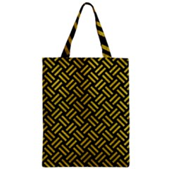 Woven2 Black Marble & Yellow Leather (r) Zipper Classic Tote Bag