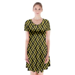 Woven2 Black Marble & Yellow Leather (r) Short Sleeve V Neck Flare Dress