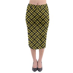 Woven2 Black Marble & Yellow Leather (r) Midi Pencil Skirt