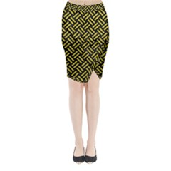 Woven2 Black Marble & Yellow Leather (r) Midi Wrap Pencil Skirt