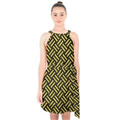 Woven2 Black Marble & Yellow Leather (r) Halter Collar Waist Tie Chiffon Dress
