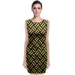 Woven2 Black Marble & Yellow Leather (r) Sleeveless Velvet Midi Dress