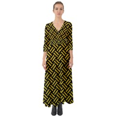 Woven2 Black Marble & Yellow Leather (r) Button Up Boho Maxi Dress