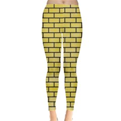 Brick1 Black Marble & Yellow Watercolor Leggings