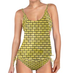 Brick1 Black Marble & Yellow Watercolor Tankini Set
