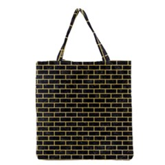 Brick1 Black Marble & Yellow Watercolor (r) Grocery Tote Bag