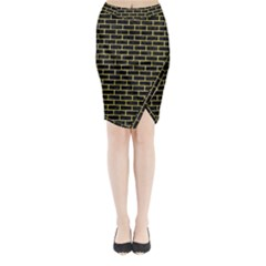 Brick1 Black Marble & Yellow Watercolor (r) Midi Wrap Pencil Skirt