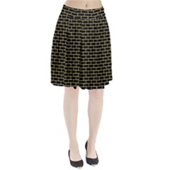Brick1 Black Marble & Yellow Watercolor (r) Pleated Skirt