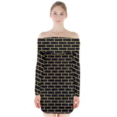Brick1 Black Marble & Yellow Watercolor (r) Long Sleeve Off Shoulder Dress