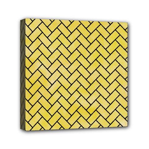 Brick2 Black Marble & Yellow Watercolor Mini Canvas 6  X 6