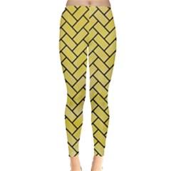Brick2 Black Marble & Yellow Watercolor Leggings