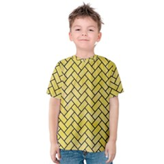 Brick2 Black Marble & Yellow Watercolor Kids  Cotton Tee