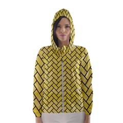 Brick2 Black Marble & Yellow Watercolor Hooded Wind Breaker (women)