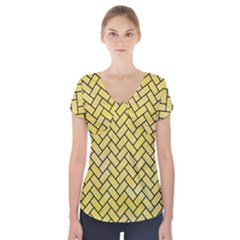 Brick2 Black Marble & Yellow Watercolor Short Sleeve Front Detail Top