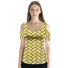 Brick2 Black Marble & Yellow Watercolor Butterfly Sleeve Cutout Tee