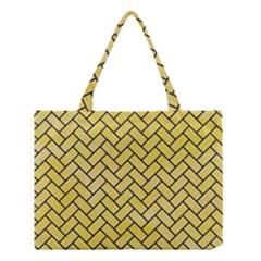 Brick2 Black Marble & Yellow Watercolor Medium Tote Bag