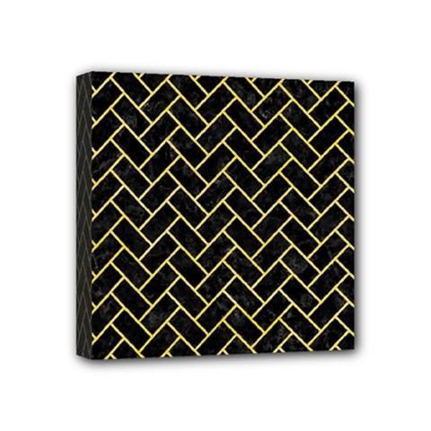 Brick2 Black Marble & Yellow Watercolor (r) Mini Canvas 4  X 4