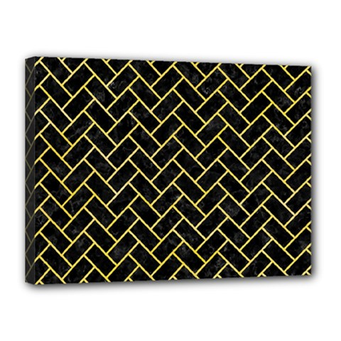 Brick2 Black Marble & Yellow Watercolor (r) Canvas 16  X 12