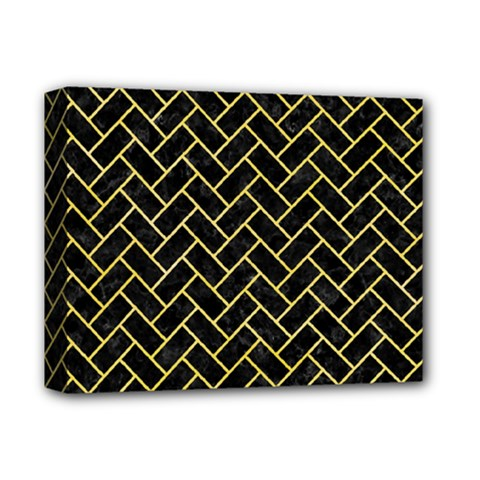 Brick2 Black Marble & Yellow Watercolor (r) Deluxe Canvas 14  X 11
