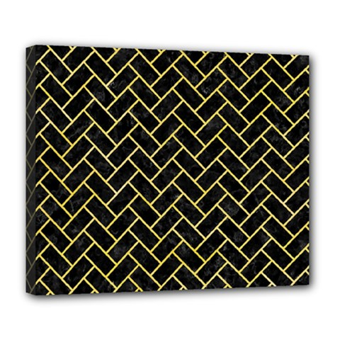 Brick2 Black Marble & Yellow Watercolor (r) Deluxe Canvas 24  X 20