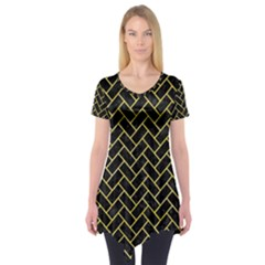 Brick2 Black Marble & Yellow Watercolor (r) Short Sleeve Tunic