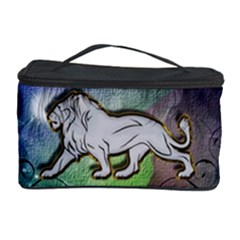 Wonderful Lion Silhouette On Dark Colorful Background Cosmetic Storage Case