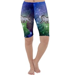 Wonderful Lion Silhouette On Dark Colorful Background Cropped Leggings