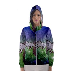 Wonderful Lion Silhouette On Dark Colorful Background Hooded Wind Breaker (women)