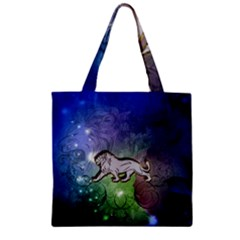 Wonderful Lion Silhouette On Dark Colorful Background Zipper Grocery Tote Bag