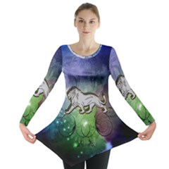 Wonderful Lion Silhouette On Dark Colorful Background Long Sleeve Tunic
