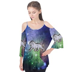 Wonderful Lion Silhouette On Dark Colorful Background Flutter Tees