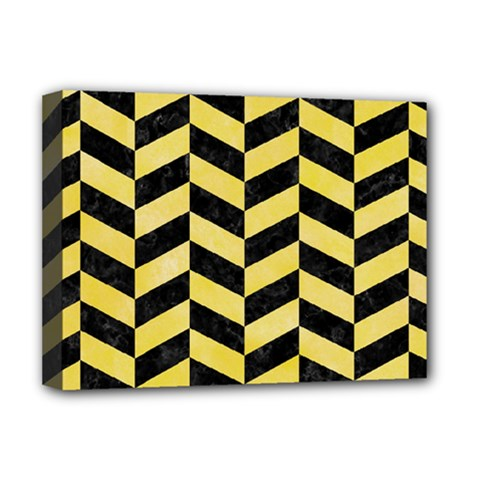 Chevron1 Black Marble & Yellow Watercolor Deluxe Canvas 16  X 12