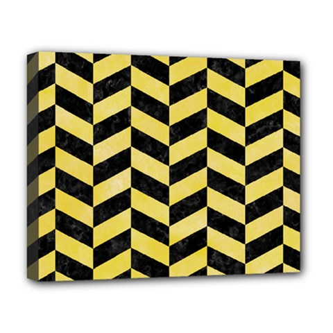 Chevron1 Black Marble & Yellow Watercolor Deluxe Canvas 20  X 16