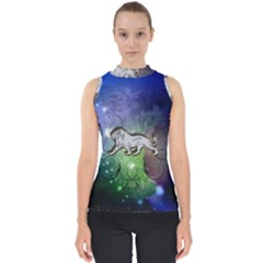 Wonderful Lion Silhouette On Dark Colorful Background Shell Top