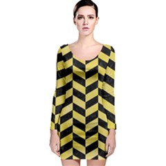 Chevron1 Black Marble & Yellow Watercolor Long Sleeve Bodycon Dress
