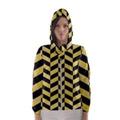 Chevron1 Black Marble & Yellow Watercolor Hooded Wind Breaker (women)