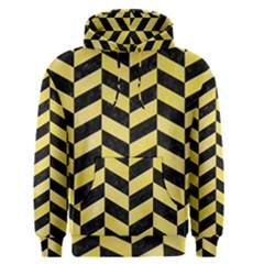 Chevron1 Black Marble & Yellow Watercolor Men s Pullover Hoodie