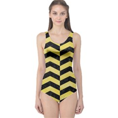 Chevron2 Black Marble & Yellow Watercolor One Piece Swimsuit