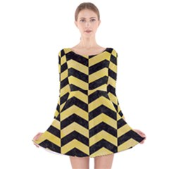 Chevron2 Black Marble & Yellow Watercolor Long Sleeve Velvet Skater Dress