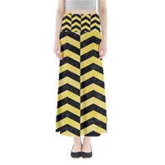 Chevron2 Black Marble & Yellow Watercolor Full Length Maxi Skirt