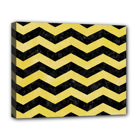 Chevron3 Black Marble & Yellow Watercolor Deluxe Canvas 20  X 16