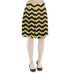 Chevron3 Black Marble & Yellow Watercolor Pleated Skirt
