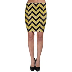 Chevron9 Black Marble & Yellow Watercolor Bodycon Skirt
