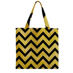 Chevron9 Black Marble & Yellow Watercolor Zipper Grocery Tote Bag
