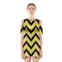 Chevron9 Black Marble & Yellow Watercolor Shoulder Cutout One Piece